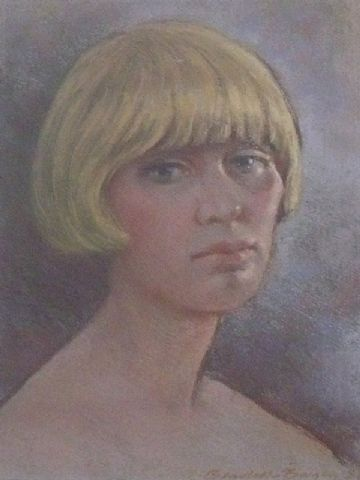 Ernest Bendell-Bayly Original Pastel Painting Portrait Of A Female